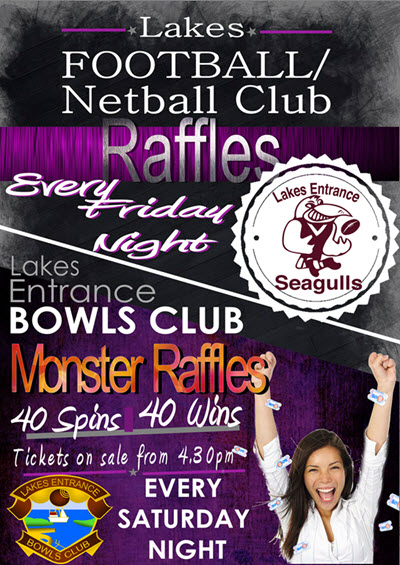 raffle poster lakes entrance