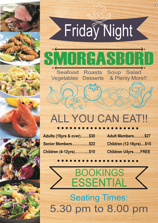 Lakes Entrance Bowls Friday Dinner Smorgasbord