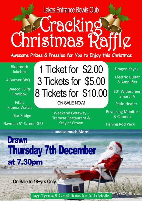 Lakes Entrance Bowls Christmas Raffle 2017